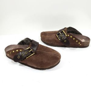 Lucky Brand Bryn Mules Brown Suede Foe Fur Inside